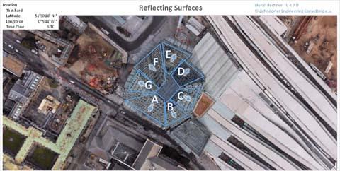 The Shard - Reflexionen auf der Fassade